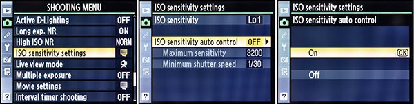 FIG 1 – Enabling the ISO Sensitivity Auto Control