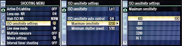 FIG 2– Setting the ISO Sensitivity Auto Control's Maximum Sensitivity