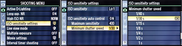 FIG 3– Setting the ISO Sensitivity Auto Control's Minimum Shutter Speed