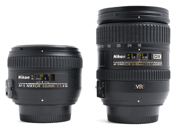 AF-S Nikkor 50mm f/1.4G and 16-85mm f/3.5-5.6G VR lenses