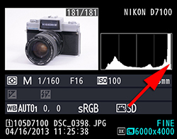 Figure 2.10.1 – Histogram is clipped on the highlight side