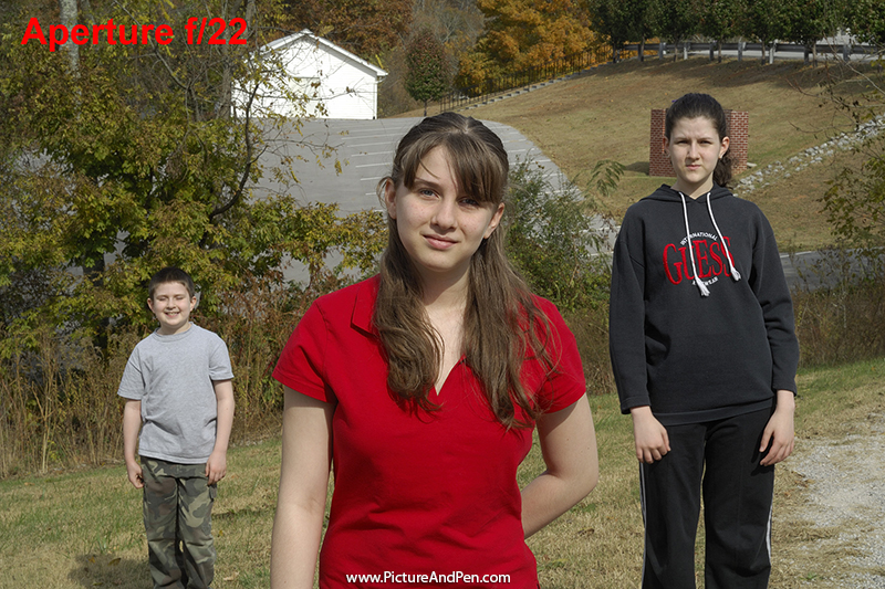 Figure 4.9 – Three young people at f/22, shutter speed at 1/40s, 100 ISO
