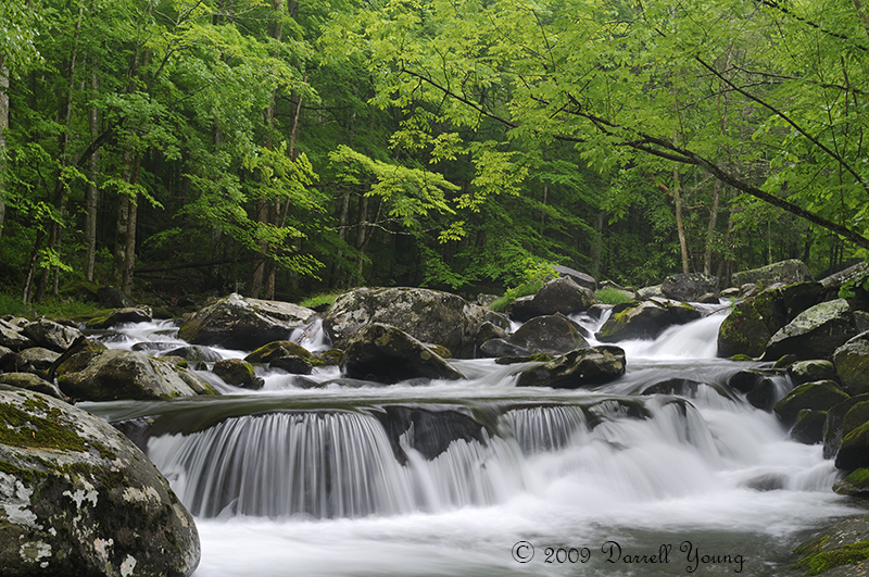 Large Cascade in the middle prong of the Little Pigeon River in Tremont of Great Smoky Mountains National Park, Tennessee, USA in mid May.