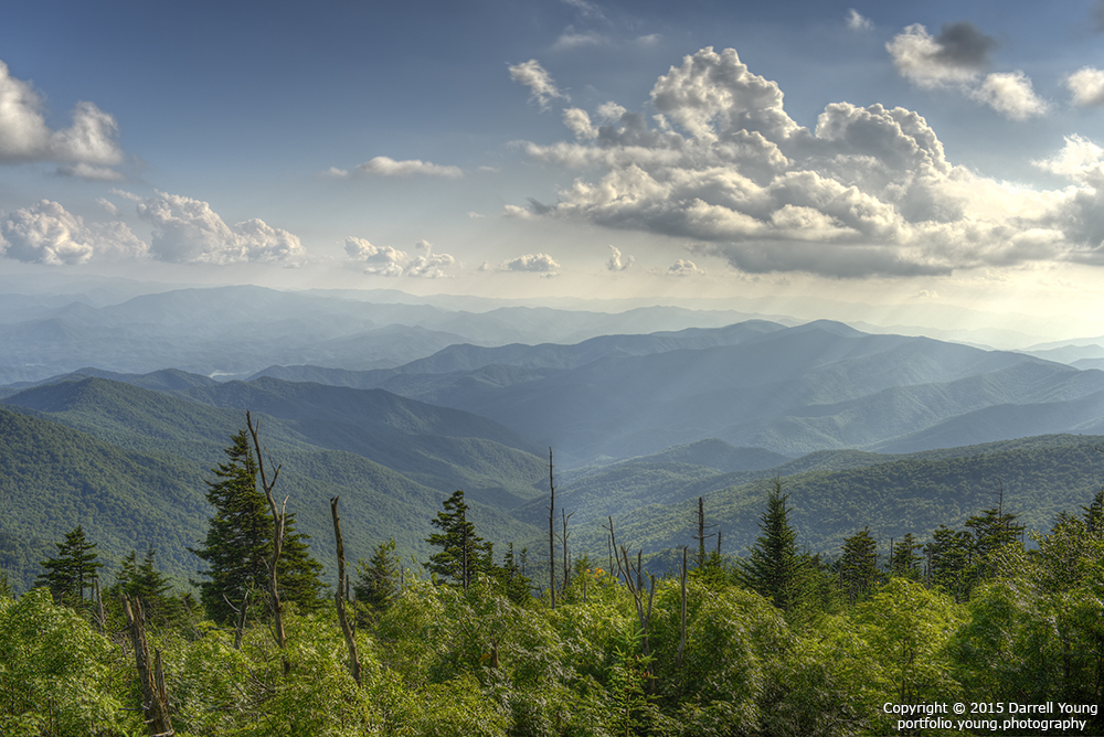 God beams shine on the ancient land in the Appalachian Mountains of Great Smoky Mountains National Park from Clingman's Dome, in North Carolina, USA.